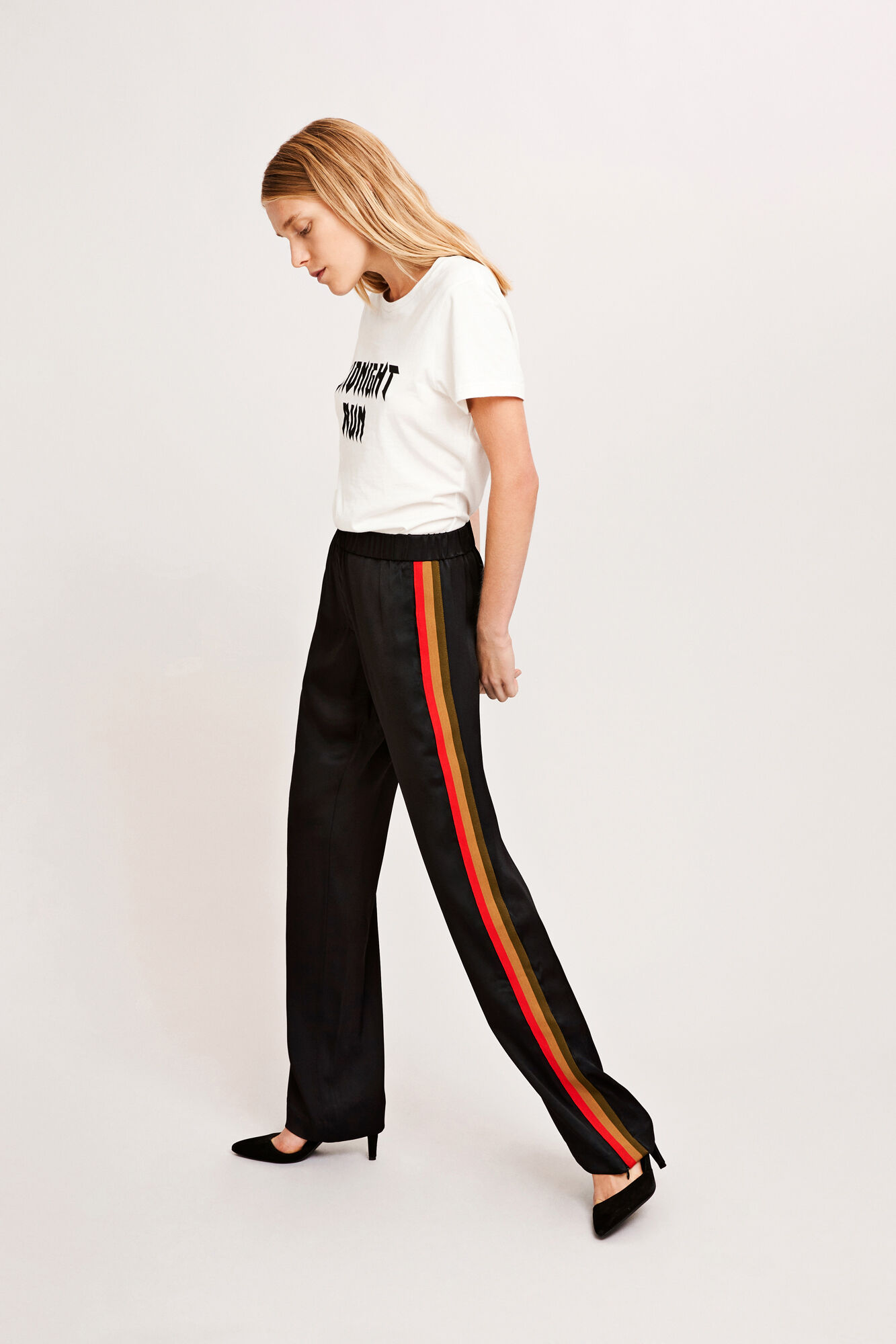 Hoys stripe tape pants 7700, BLACK MULTI