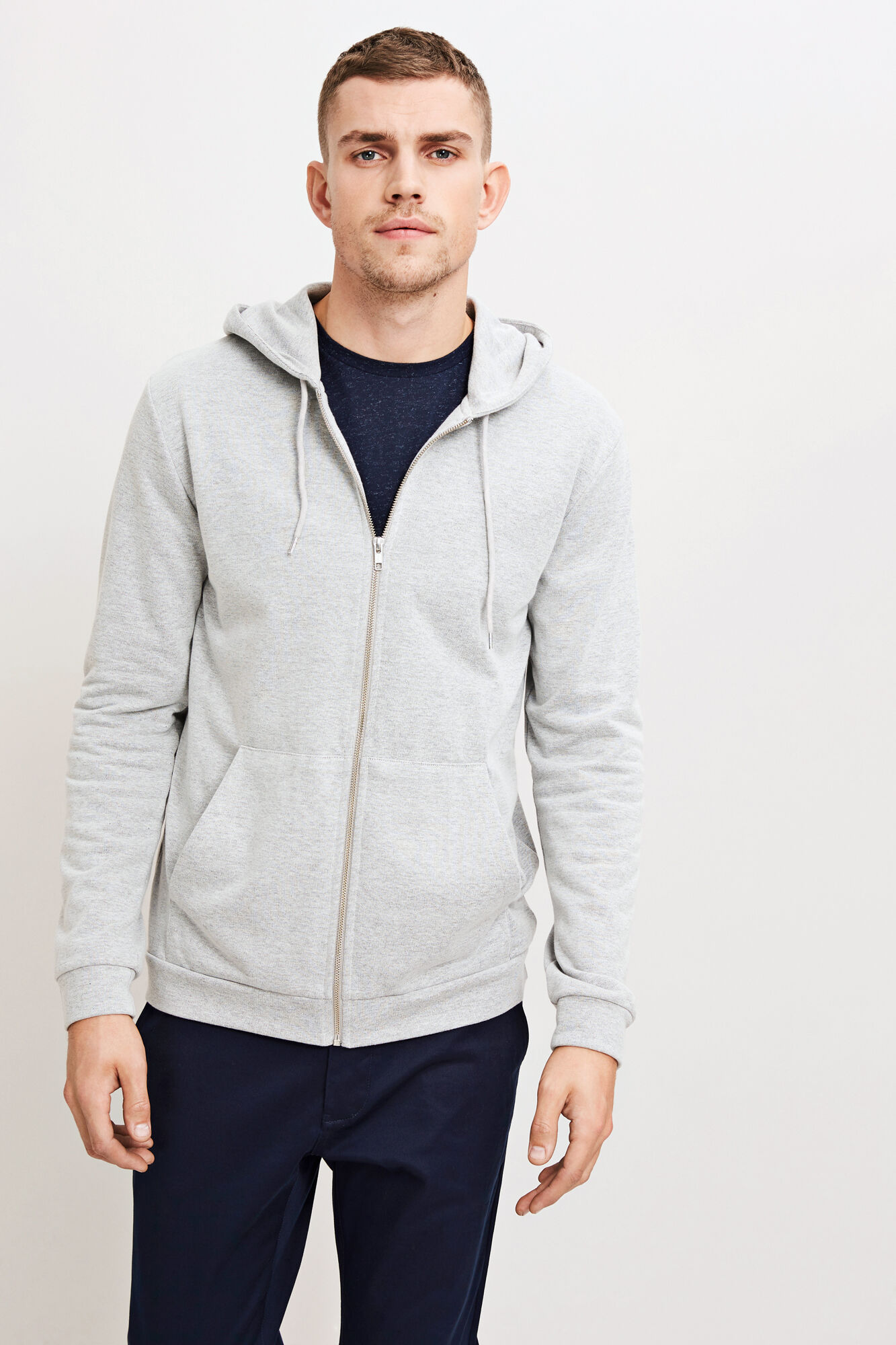 Enno zip hoodie 7057, LIGHT GREY MEL.