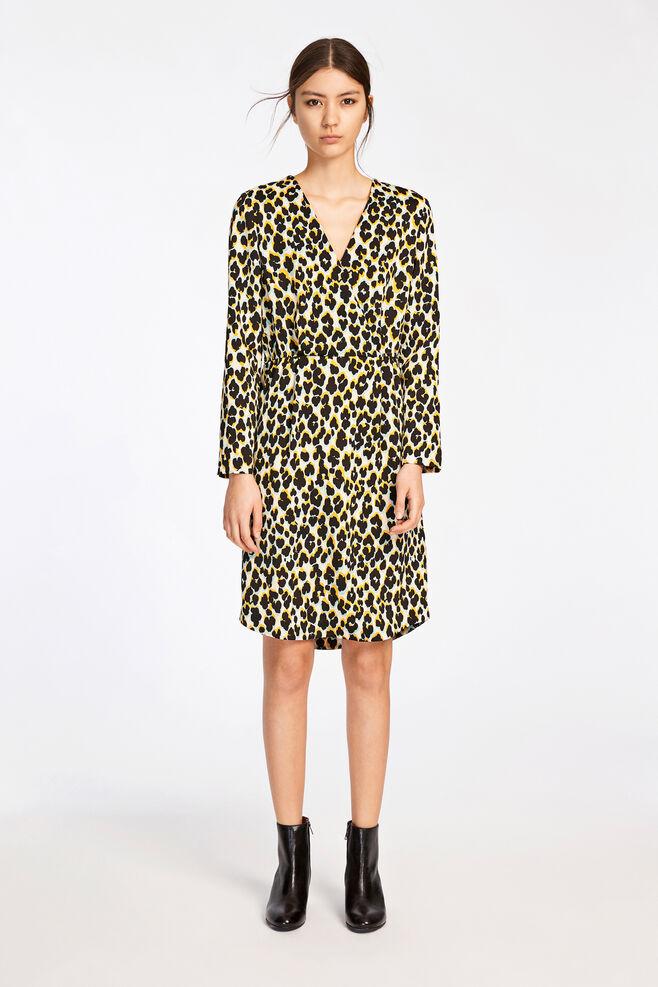 Beverly dress aop 9324, LEOPARD JAUNE