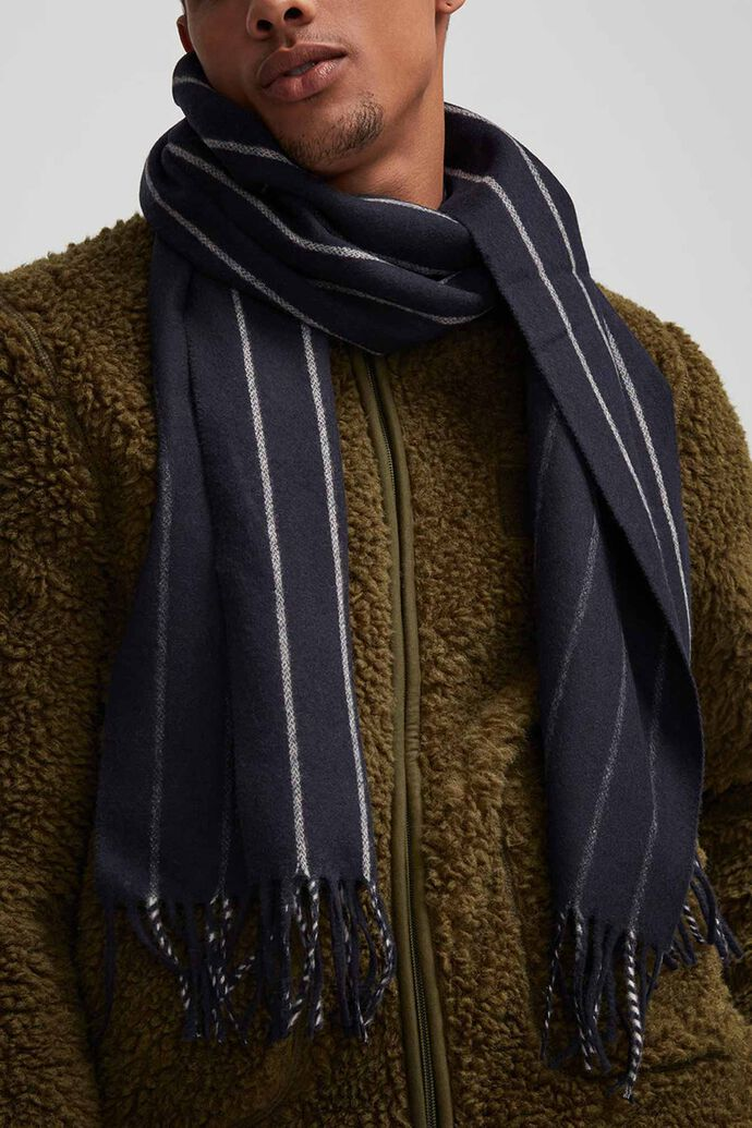 Scarf Two Striped 9058, NAVY BLUE