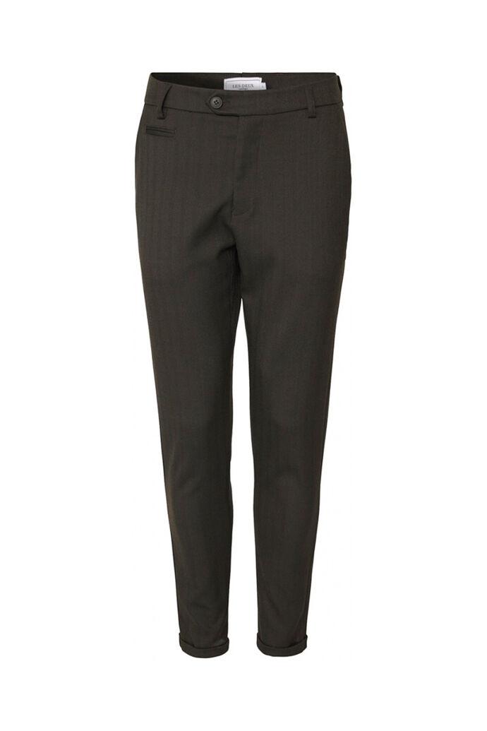 Como herringbone suit pants, DEEP FORREST/BLACK