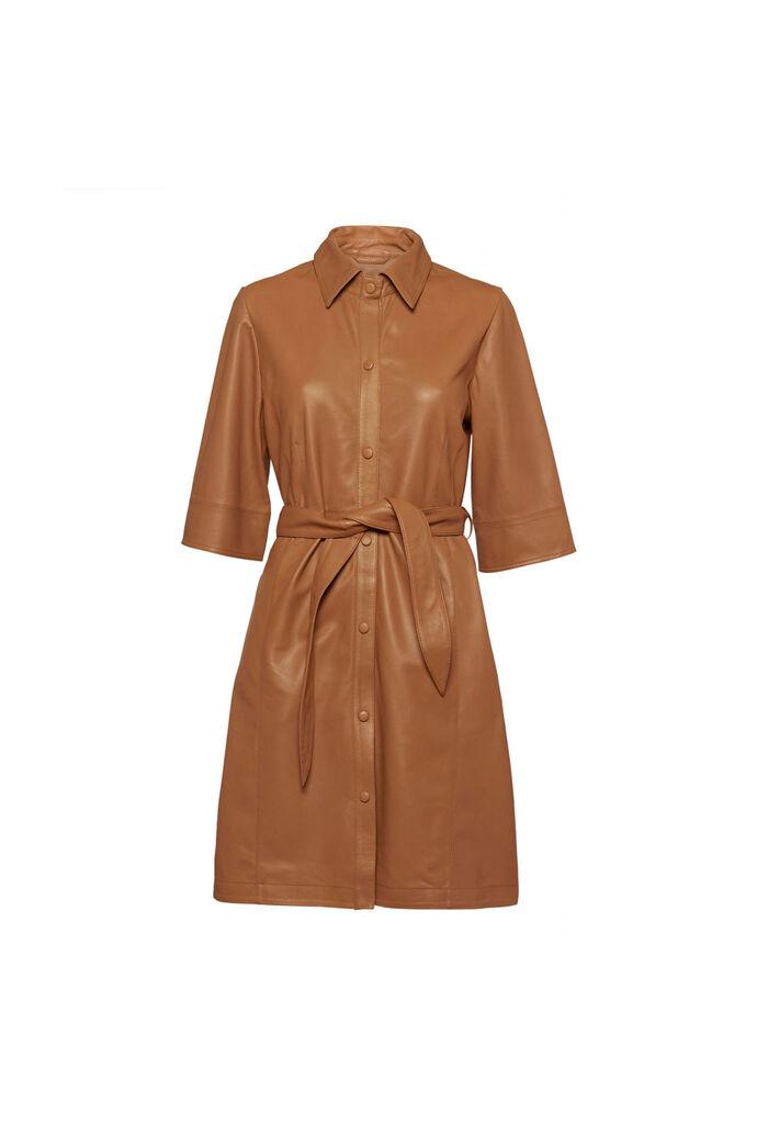 Niko leather dress, BROWN