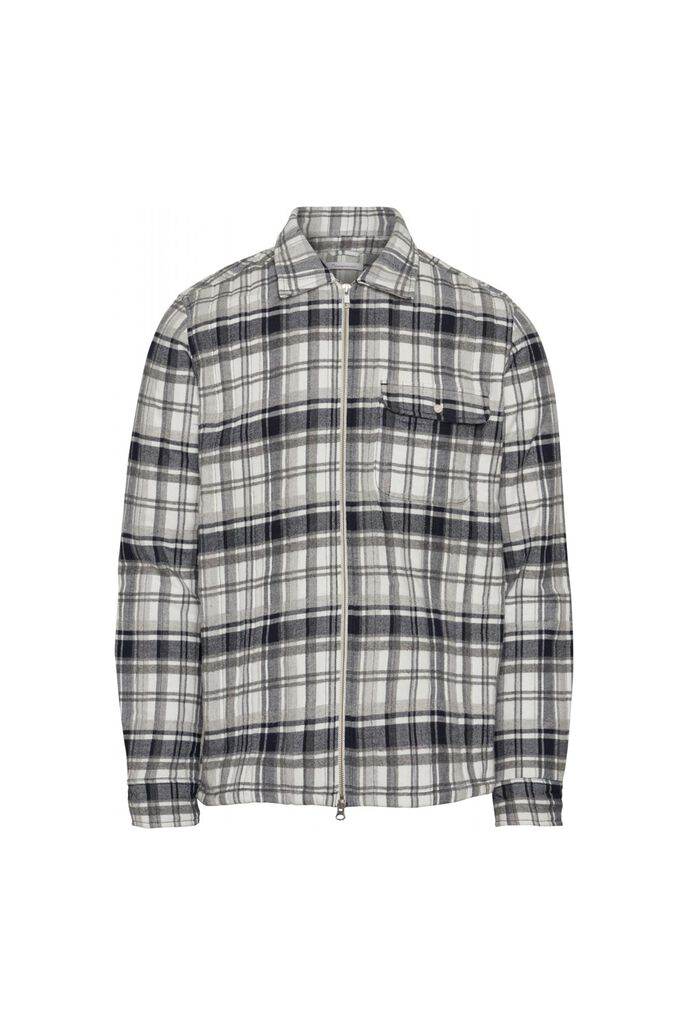 Quilted checked fannel shirt, DARK GREY 1073