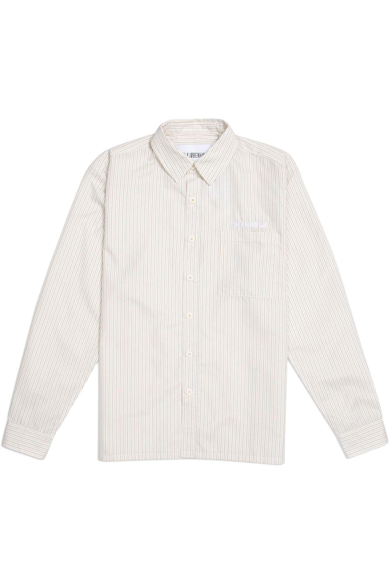 Boxy shirt M-120006, WHITE STRIPED