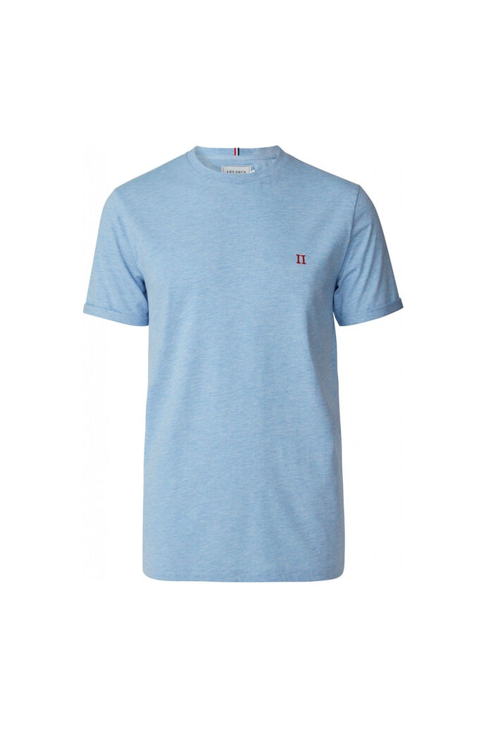 Nørregaard T-shirt LDM101008, LIGHT BLUE MELANGE/ORANGE
