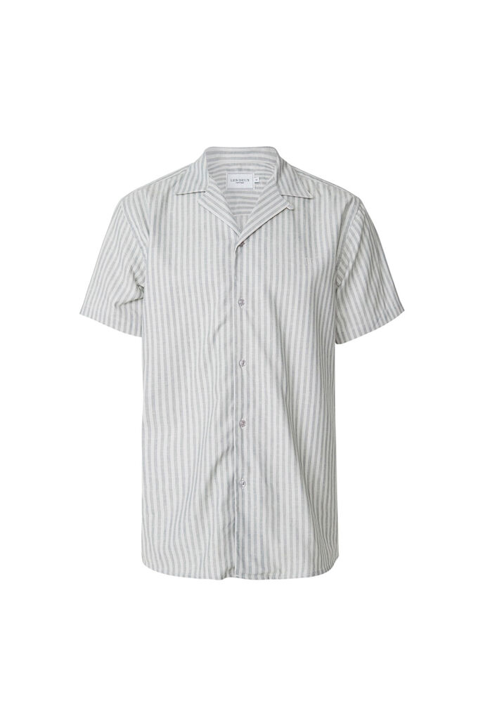 Simon linen ss shirt LDM401006, LIGHT GREY/PETROL STRIPE