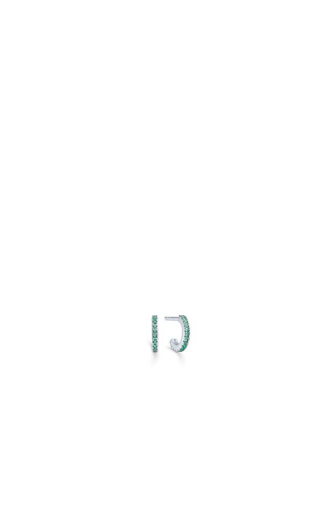 Simplicty mini hoops IDH009RH, RHODIUM/GREEN
