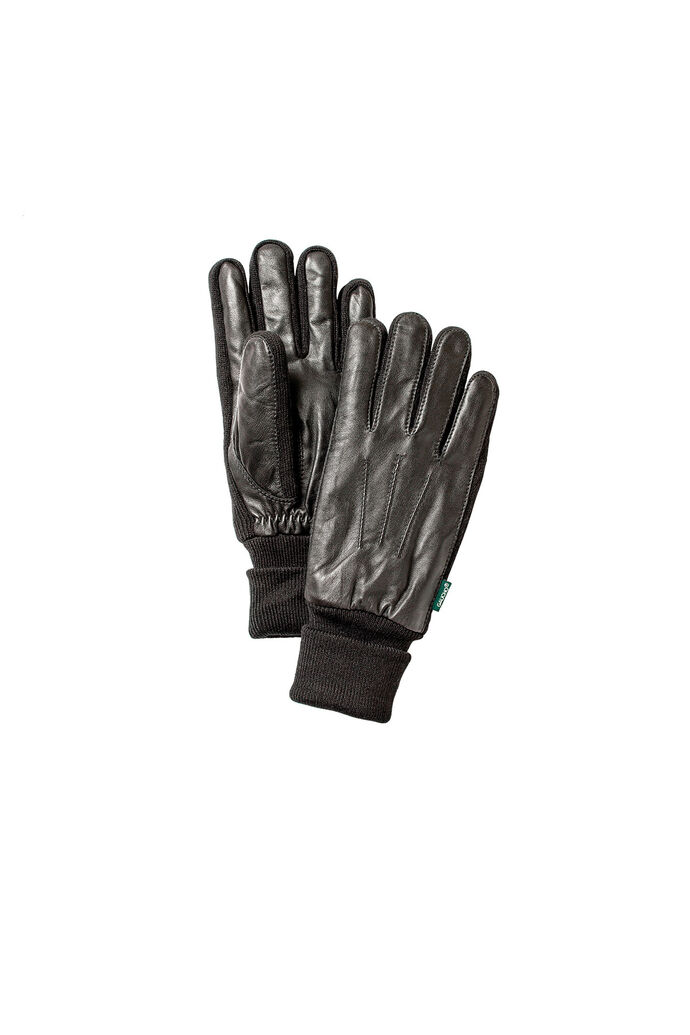 Men's Leather Sandwich Glove, BLACK