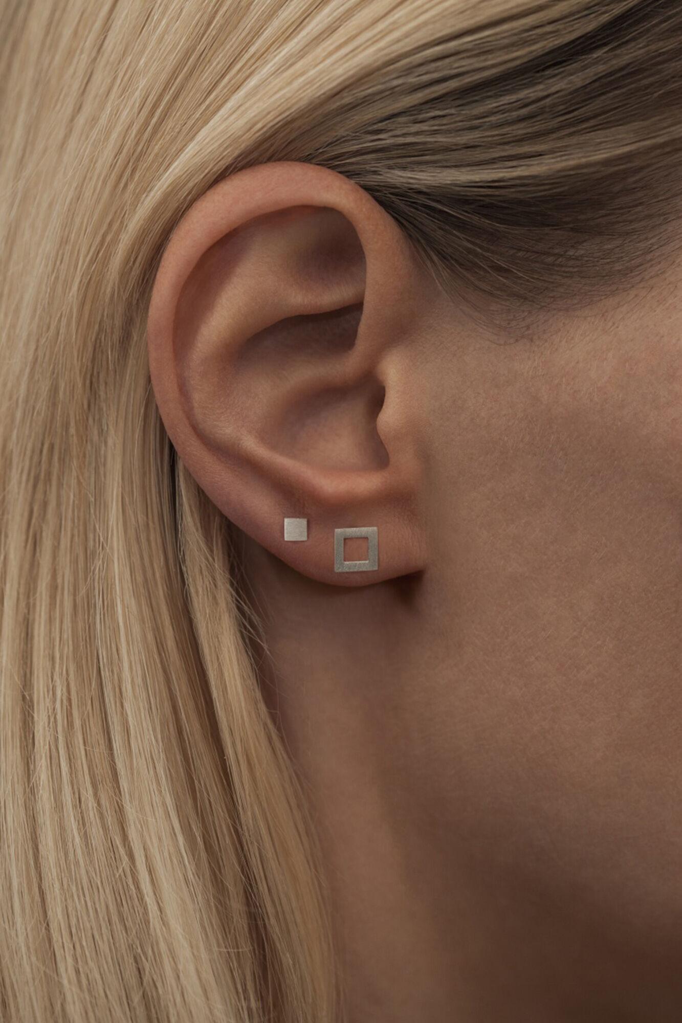Family Ear Studs LULUE066, SILVER MATTE