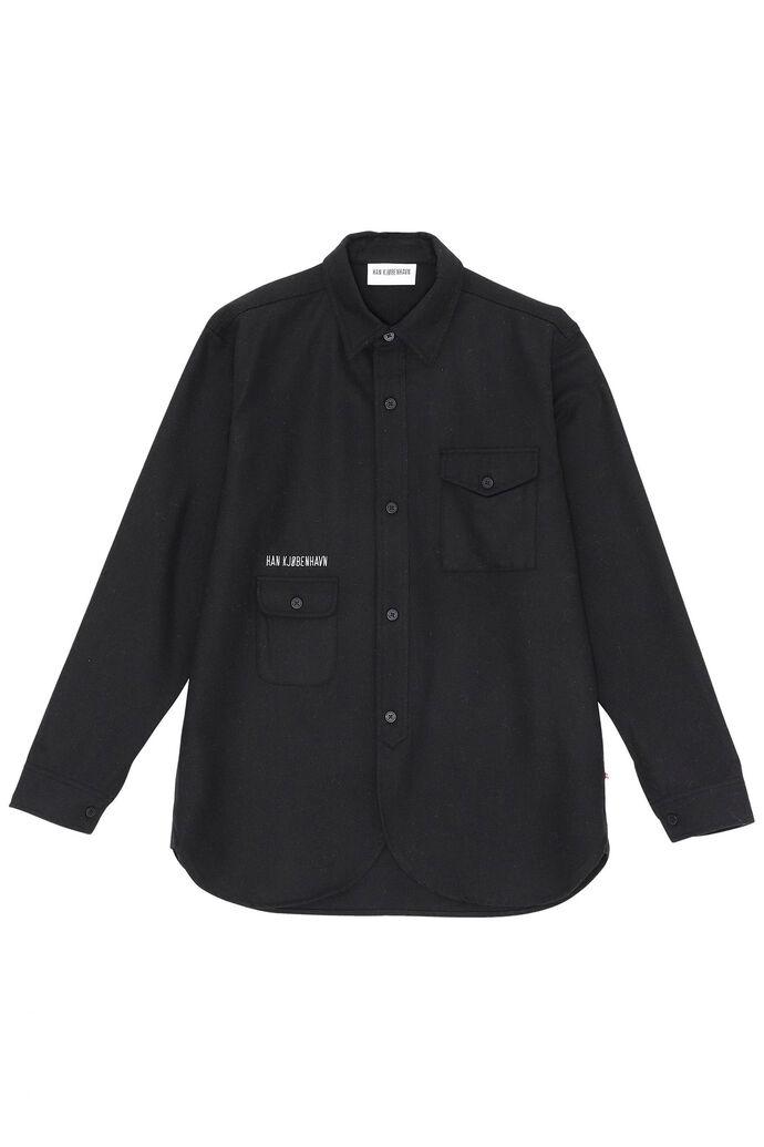 Army shirt M-130129, BLACK WOOL LOGO