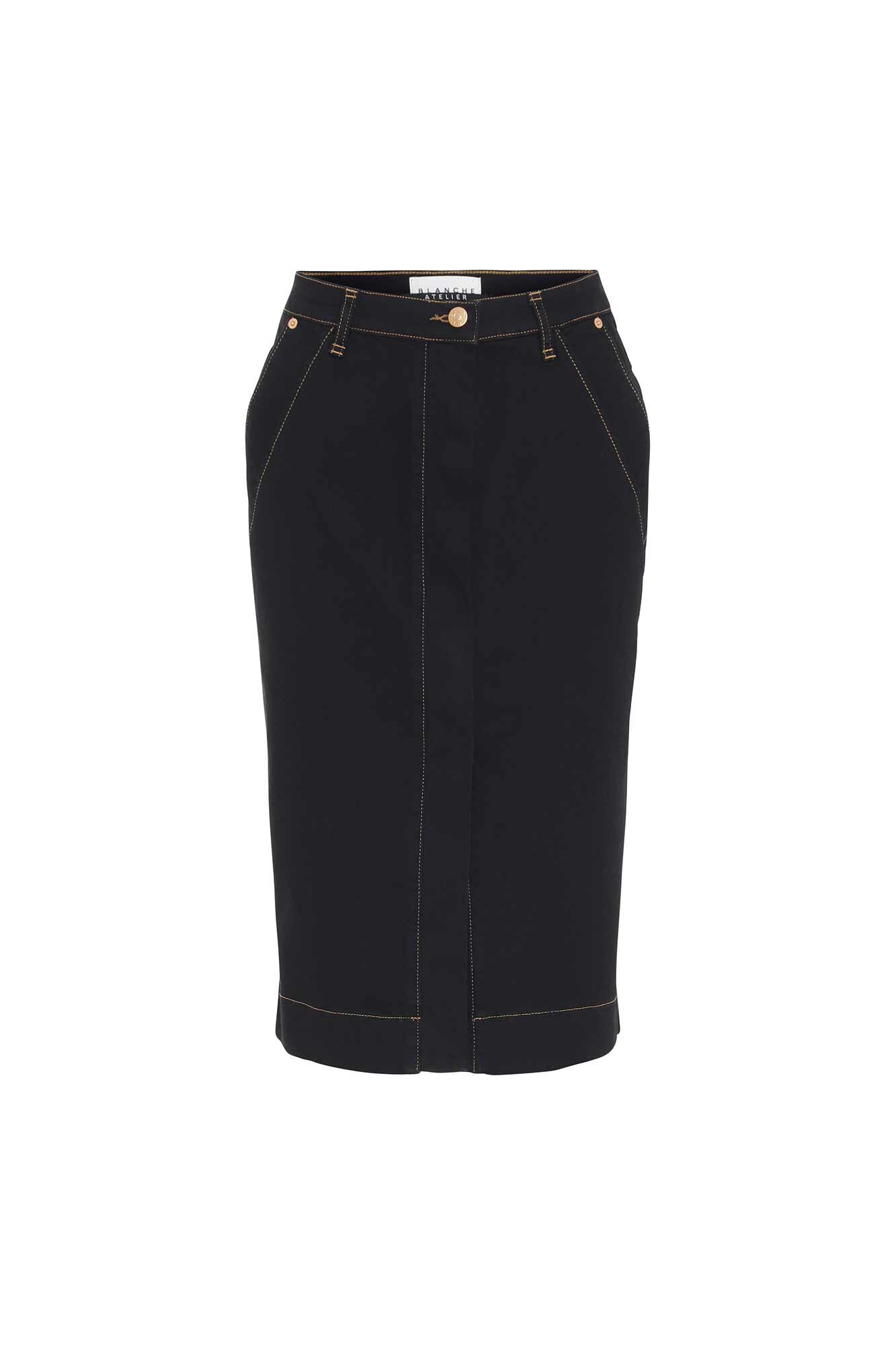 Aja skirt 84051, BLACK DENIM