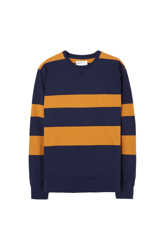 Classic crew sweatshirt, WIDE STRIPE HEAVY NAVY/CUMIN