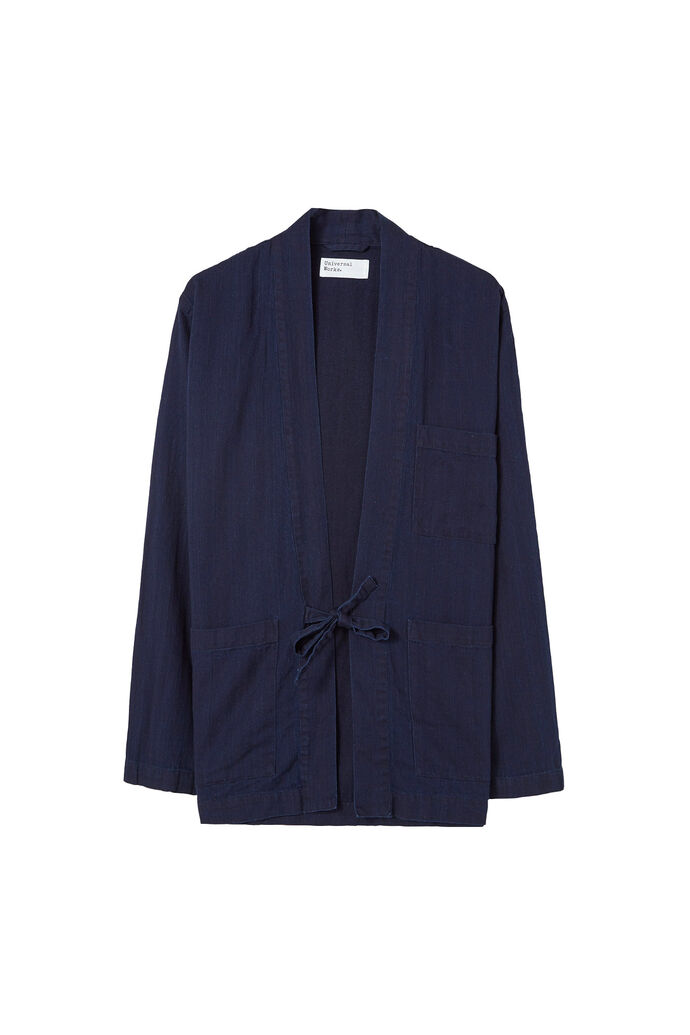 Tie front jacket, HERRINGBONE DENIM INDIGO