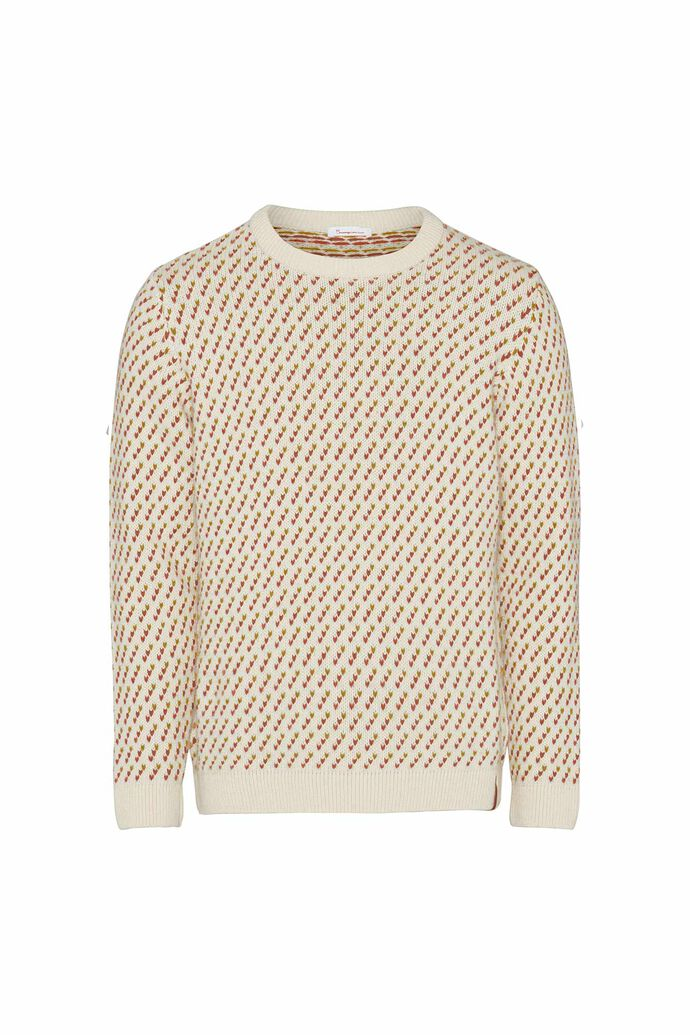 Valley jacquard o-neck knit, RUST