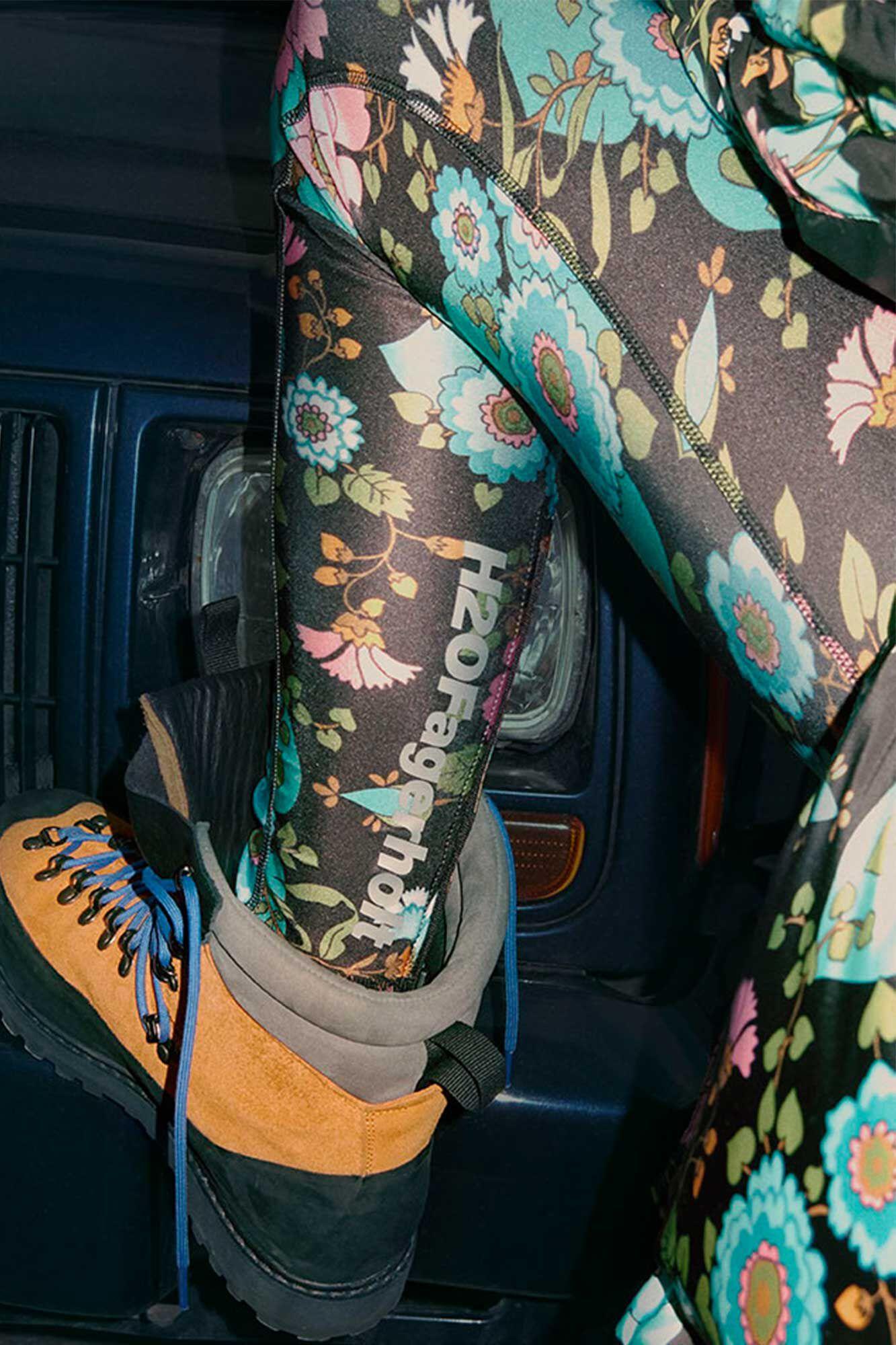 Long tight tights FA900010-1, BLACK FLOWER