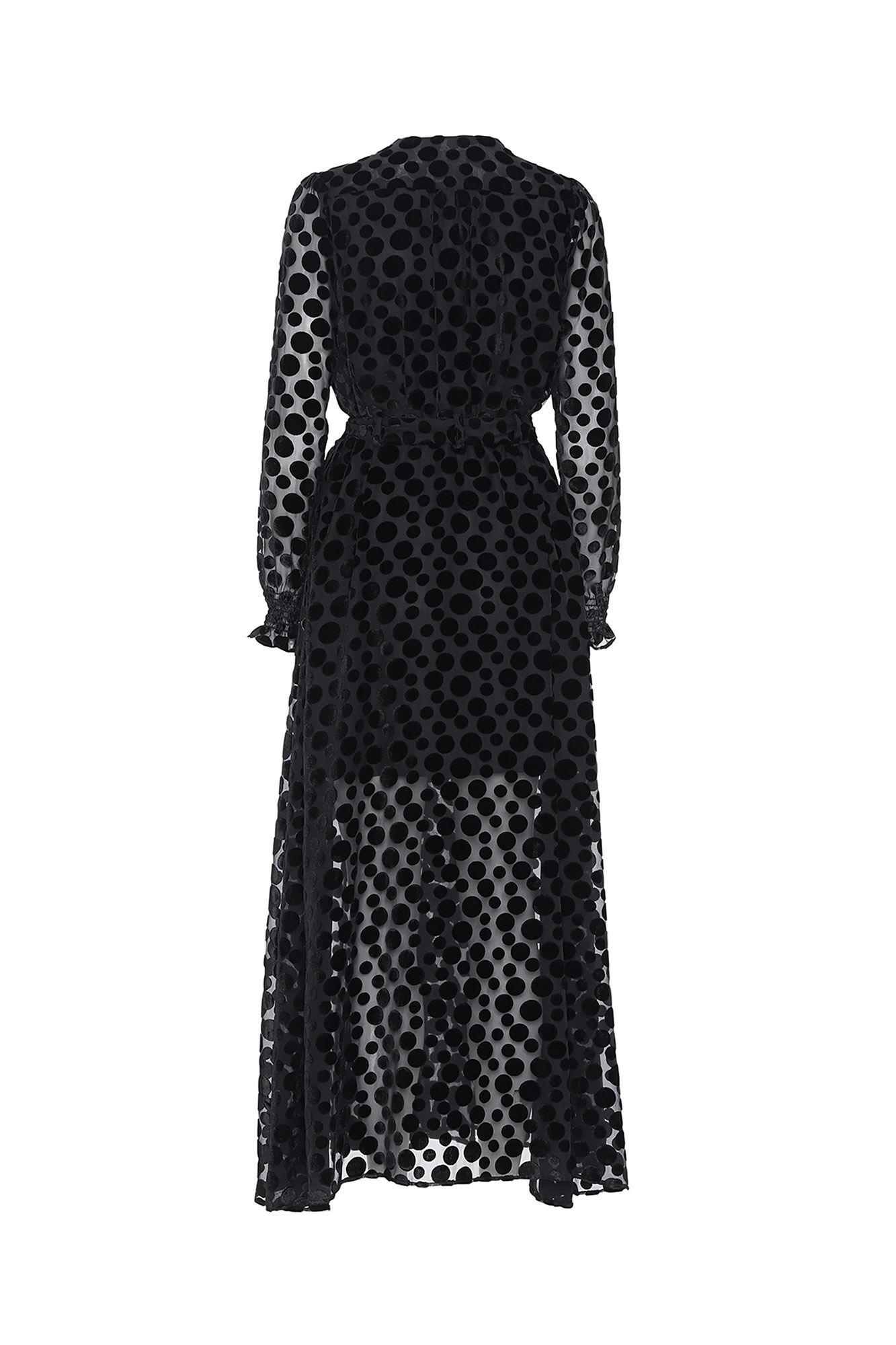 Paula long dress 3423644-001, BLACK POLKA DOTS