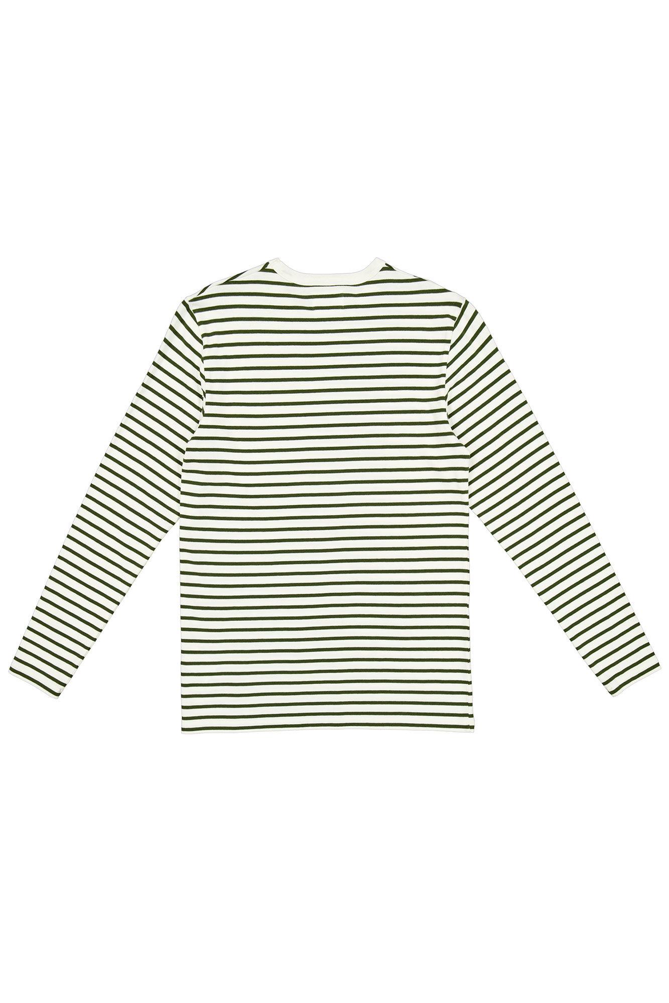Mel long sleeve 10935407-2323, DARK GREEN/OFF WHITE STRIPE