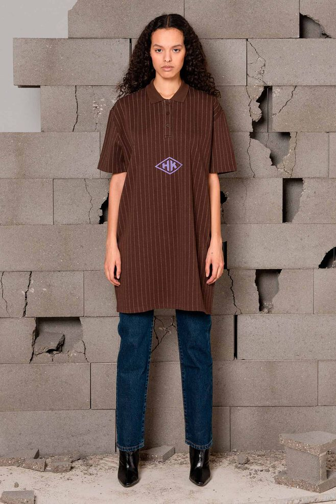 Polo dress F-120059, PINSTRIPED BROWN
