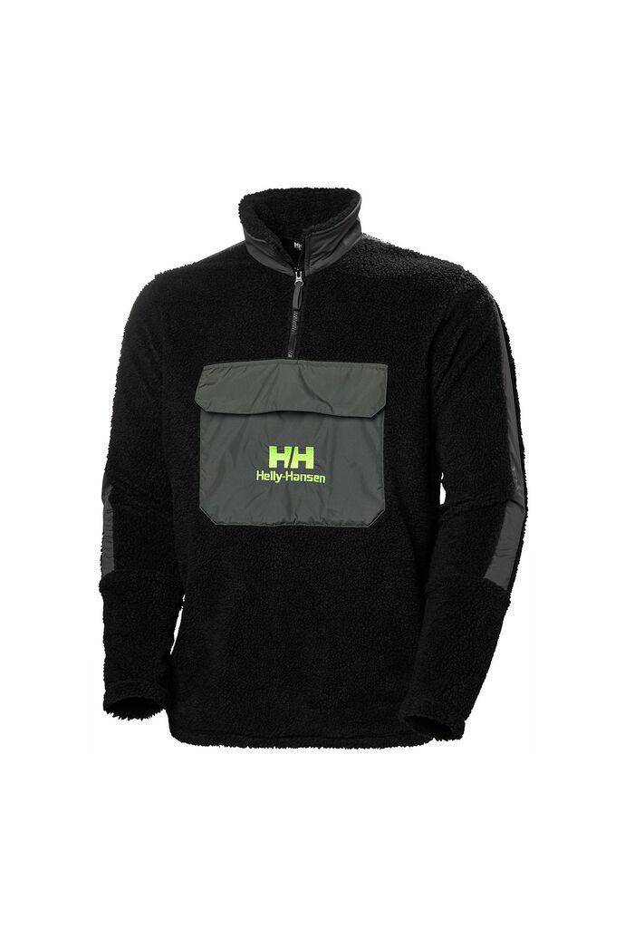 Yu 1/2 zip pile sweater 53385, BLACK