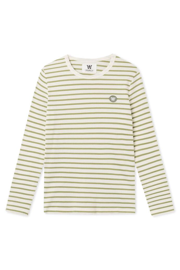 Moa long sleeve 10031506-2323, OFF-WHITE/OLIVE STRIPES