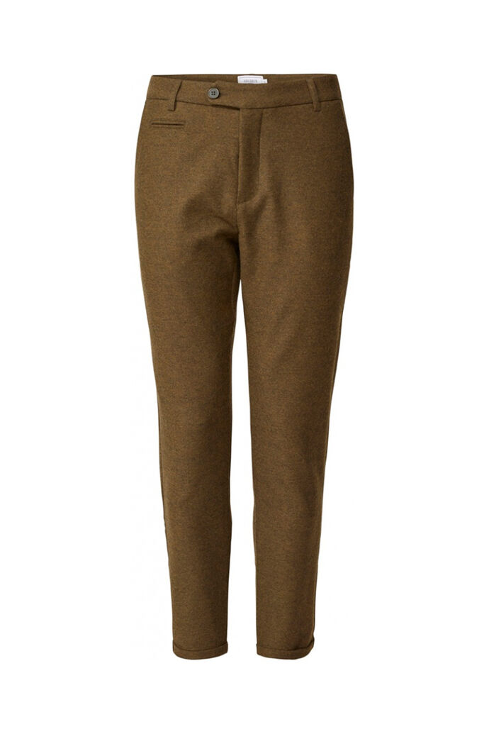 Como wool pants LDM501017, DARK OLIVE GREEN