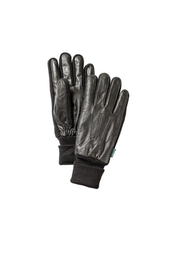 Men's Leather Sandwich Glove, BLACK