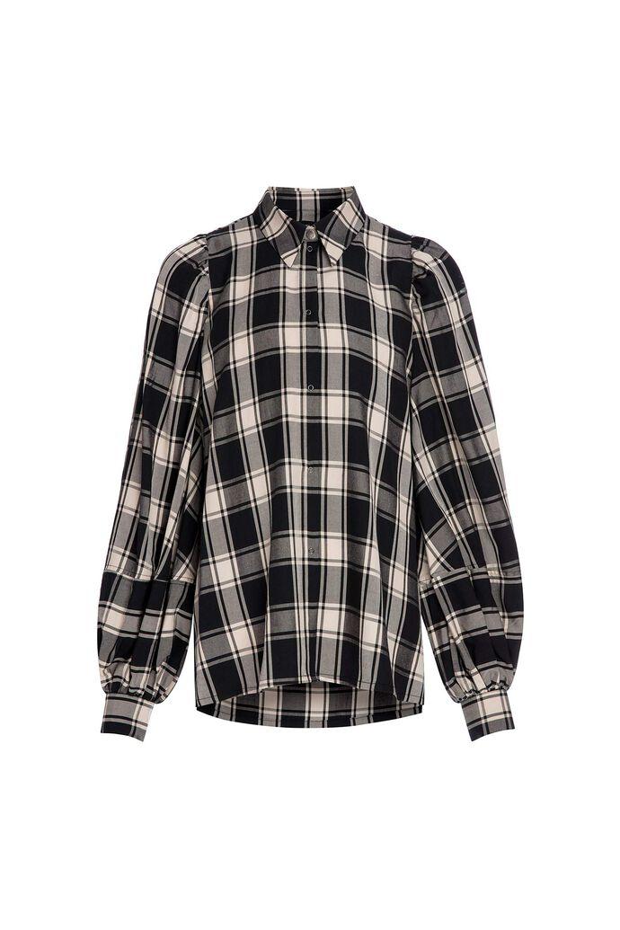 D tegan tencel shirt balloon, BLACK/CREME