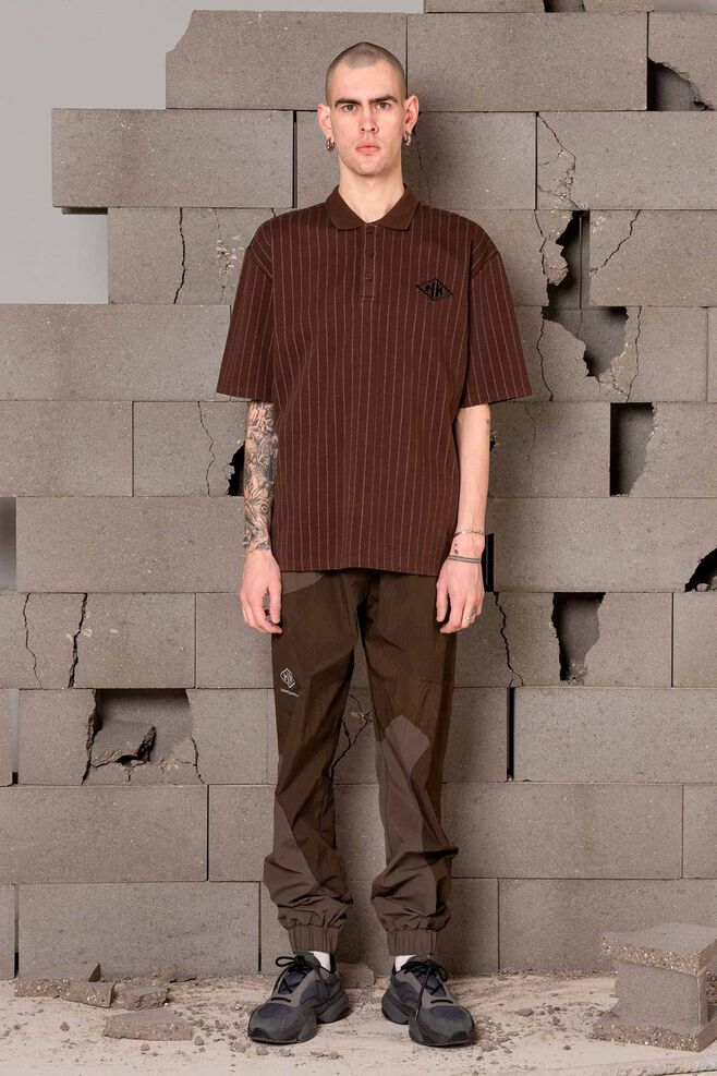 Polo tee M-120020, PINSTRIPED BROWN