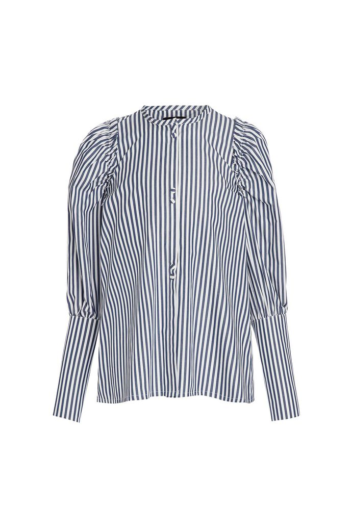 Blouse with puff sleeve, NAVY/WHITE STRIPE