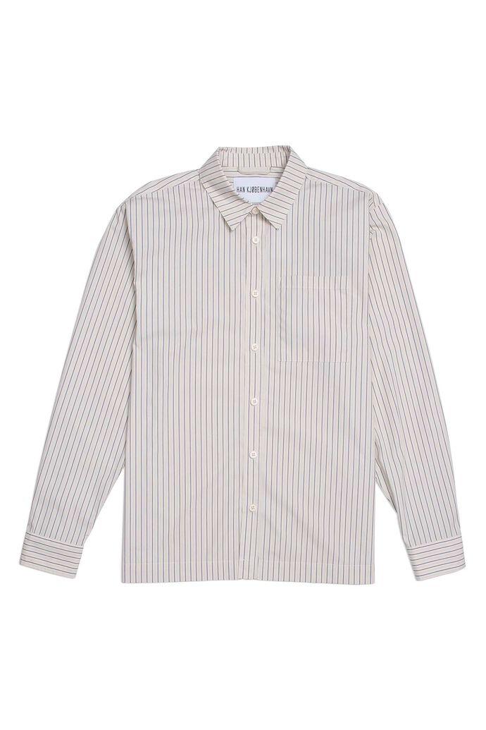 Boxy shirt M-130035, BLUE PINSTRIPE