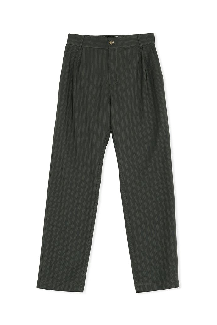 Tapered trousers M-130213, GREEN STRIPE