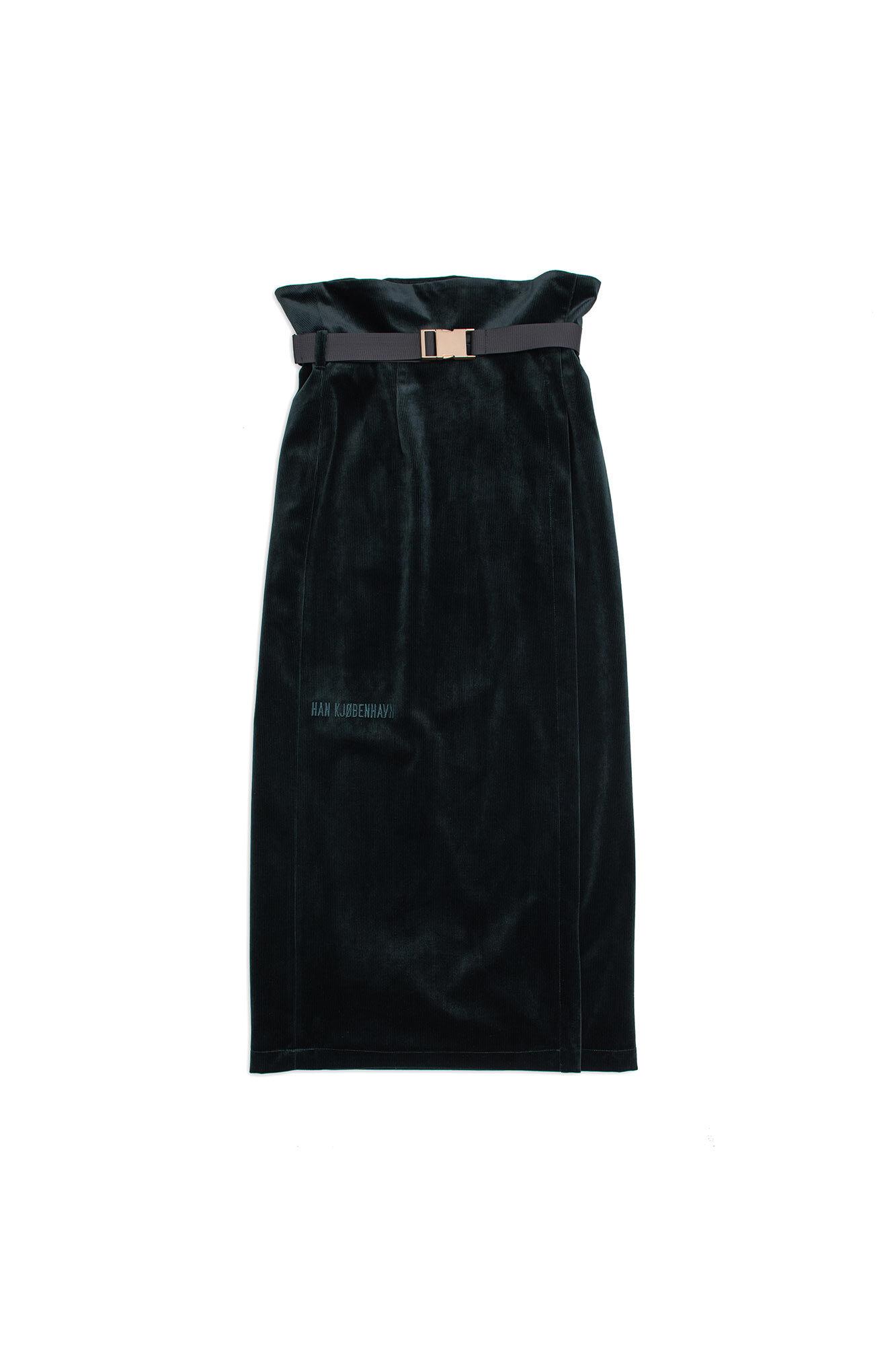 Buckle skirt F-120050, GREEN CORDUROY