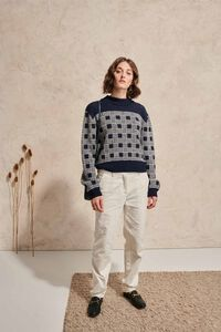 Sorine archive knit 02012WS, NAVY OFF WHITE