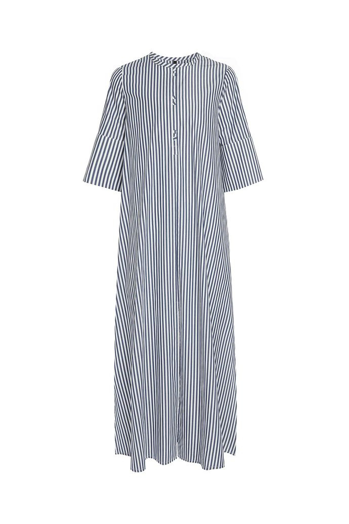 A-line dress with placket, NAVY/WHITE STRIPE