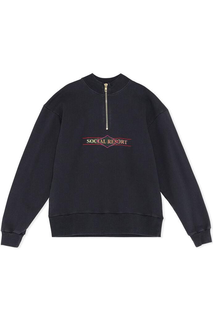 Half zip sweat M-130156, FADED BLACK