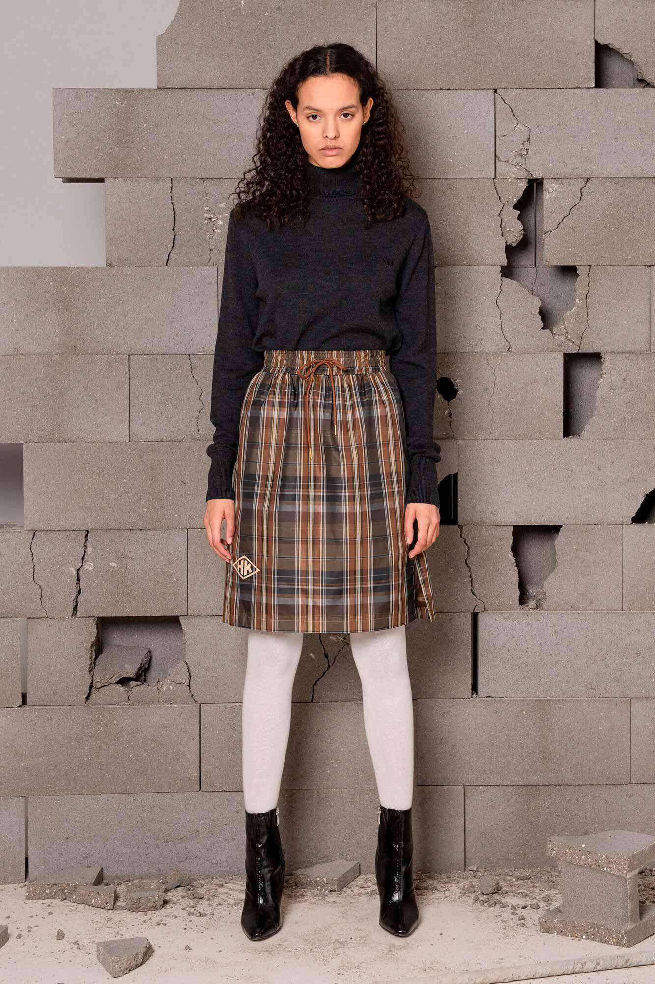Knee skirt F-120047, BROWN CHECK