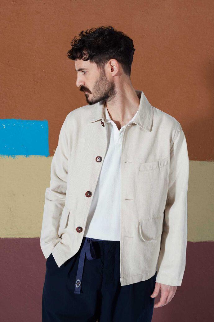 Warmus II jacket, LINEN MIX TWILL ECRU