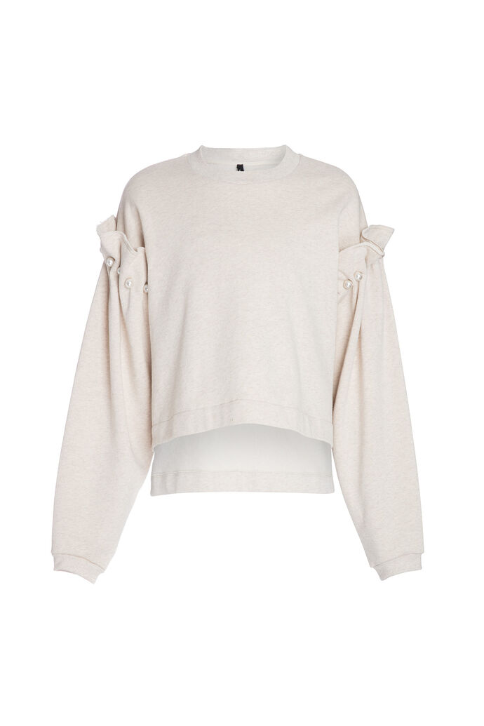 Cropped jumper with pearl, OATMEAL
