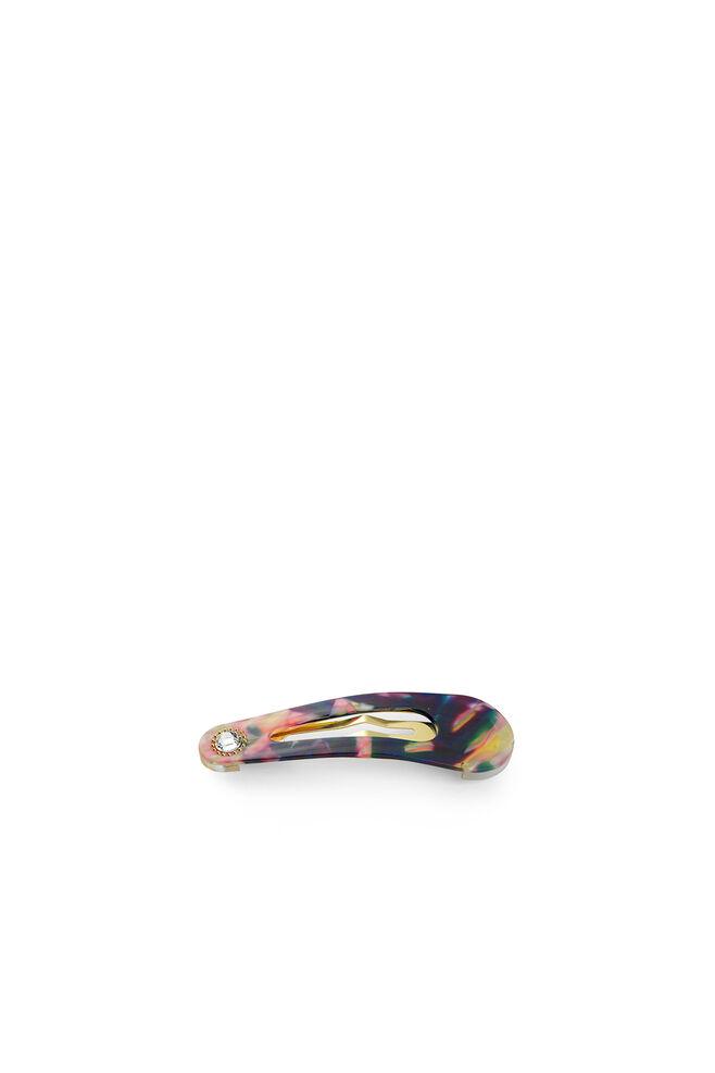 Oval clip w. stone, MULTI