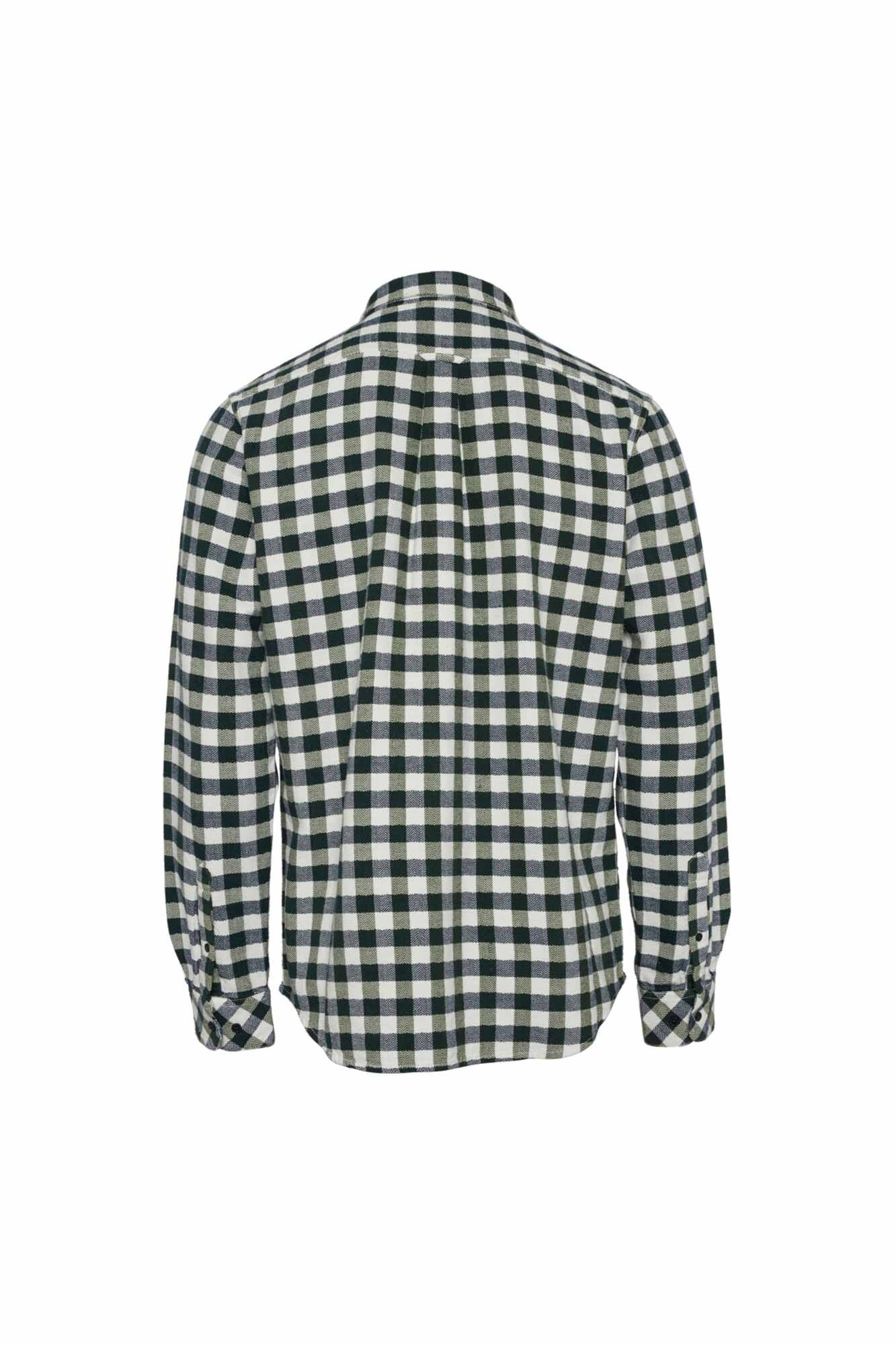 Fishbone checked flannel 90757, GREEN FOREST