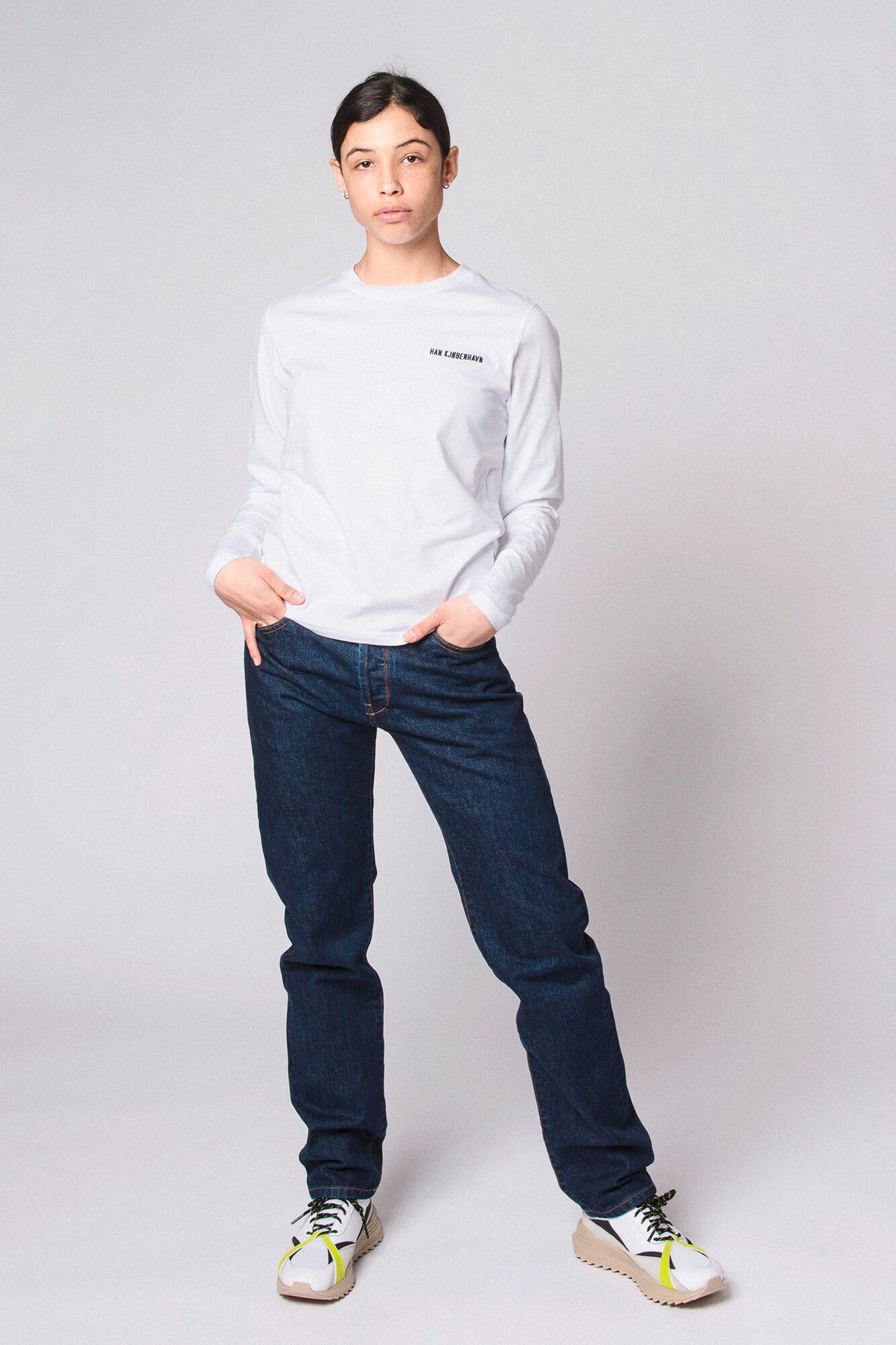 Casual Long Sleeve Tee F-20002, WHITE LOGO