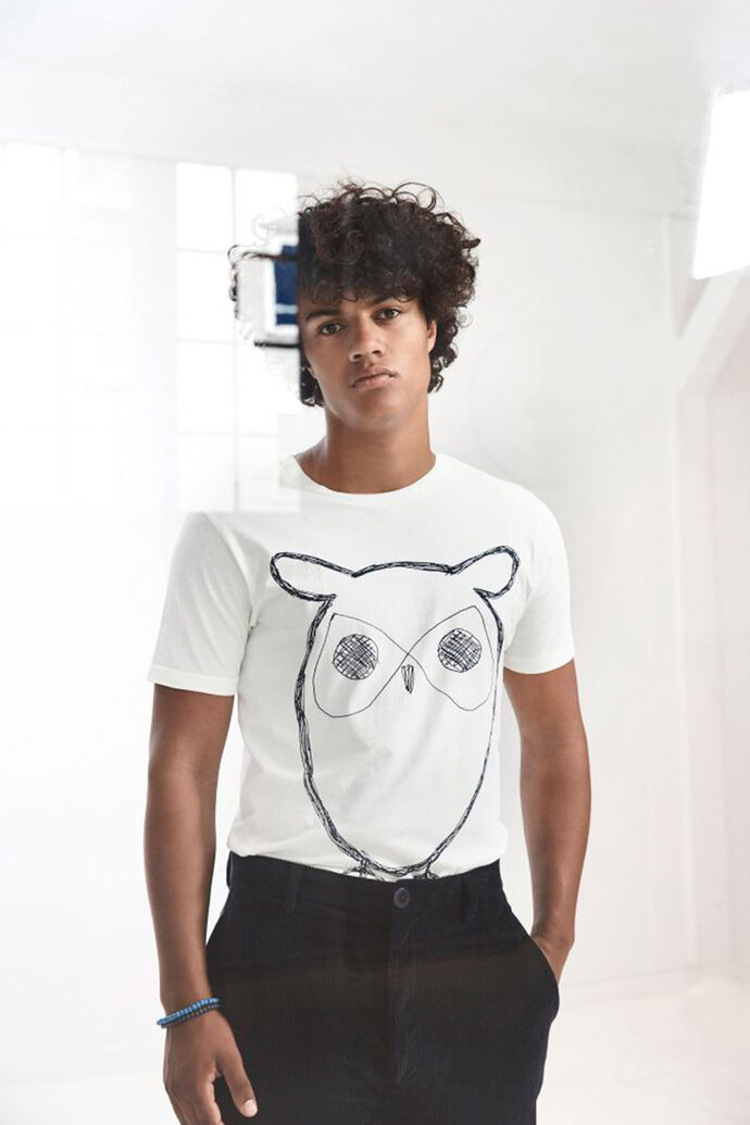 Single jersey with owl 10184, STAR WHITE