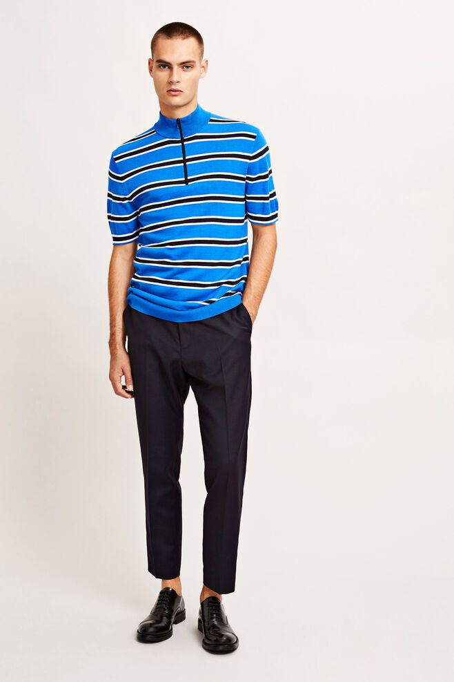 Manush t-n zip polo 6914, STRONG BLUE ST