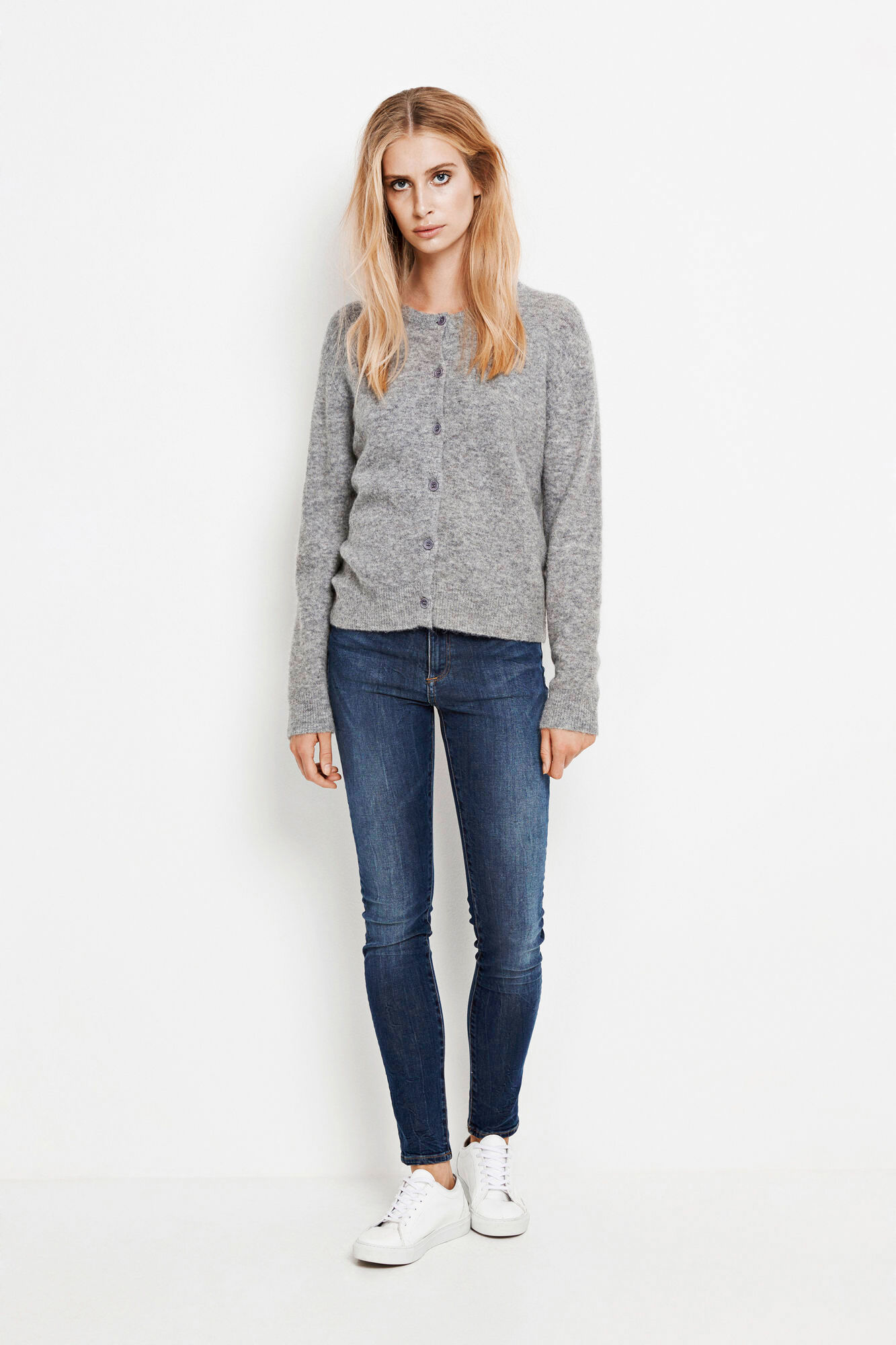 Nor short cardigan 7355, GREY MEL.