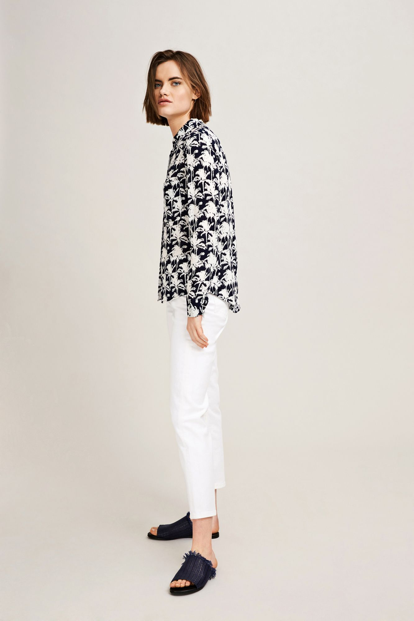 Milly shirt aop 7201, BLEU PALMIER