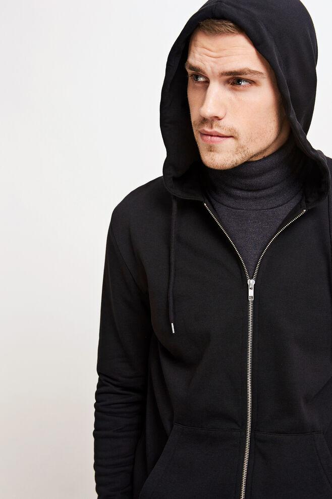 Enno zip hoodie 7057, BLACK