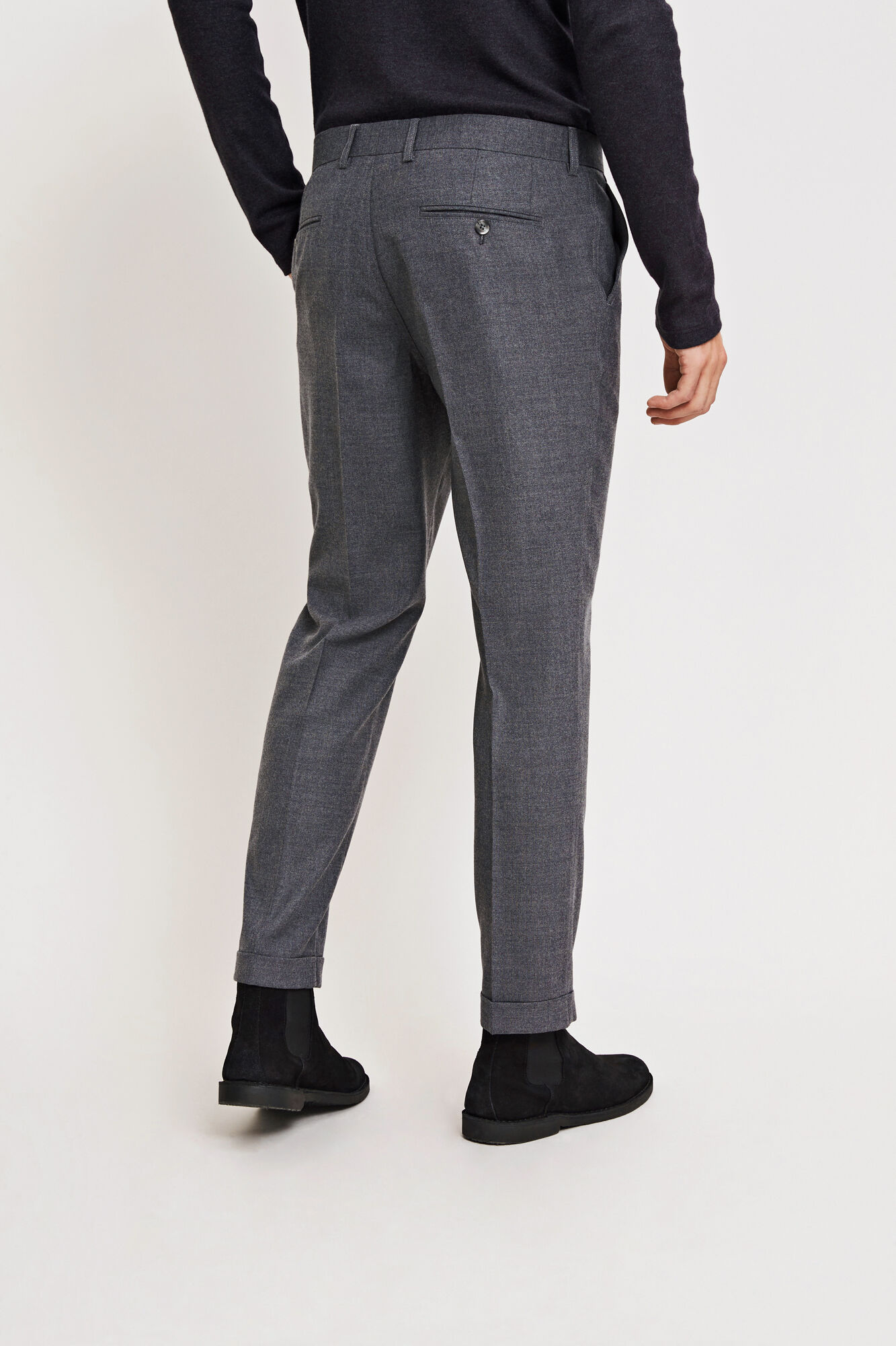 Laurent pants fold up 6568, DARK GREY MEL.