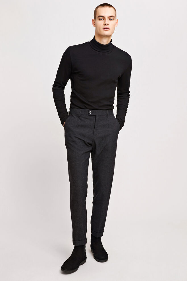 Laurent pants fold up 7532, DARK GREY MEL.