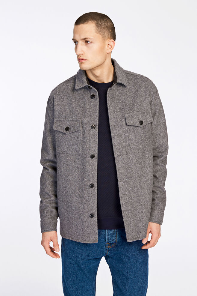 Waltones overshirt 8227, DARK GREY MEL.