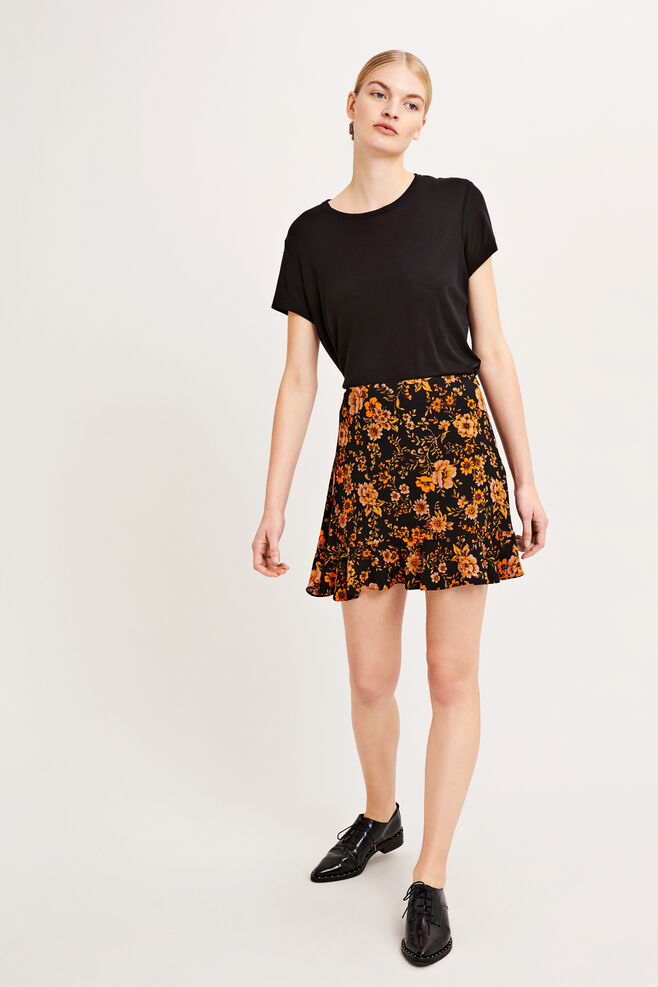 Limon s skirt aop 6515, BLACK BLOOM